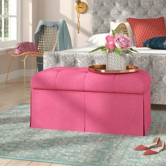 House of Hampton Tracy Upholstered Bench Color: Duck French Pink