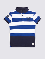 Marks and Spencer Pure Cotton Striped Polo Shirt (3-14 Years)
