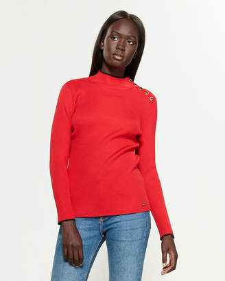 Calvin Klein Long Sleeve Mock Neck Button Shoulder Sweater