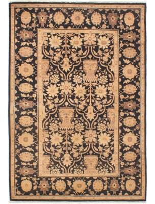 """Alegria Canora Grey One-of-a-Kind Hand-Knotted 4'3"""" x 6'3"""" Wool Black Area Rug Canora Grey"""