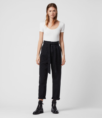 AllSaints Ralita High-Rise Cropped Jeans, Black