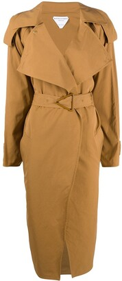 Bottega Veneta Triangular-Buckle Long Trench Coat