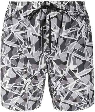 Fendi Geometric-Print Swim Shorts