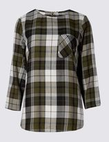 Marks and Spencer Cotton Blend Checked 3/4 Sleeve Shell Top