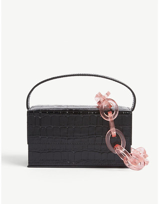 L'Afshar Ida croc-embossed small leather top handle bag