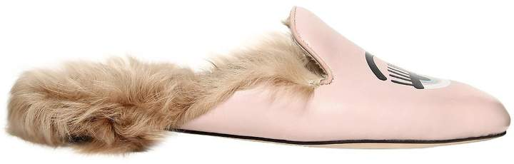 Chiara Ferragni 10mm Flirting Eye Faux Leather Mules