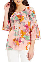 Investments Floral Pleated Popover Blouse