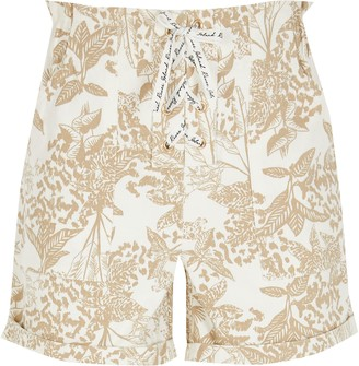 River Island Girls Beige printed lace-up shorts
