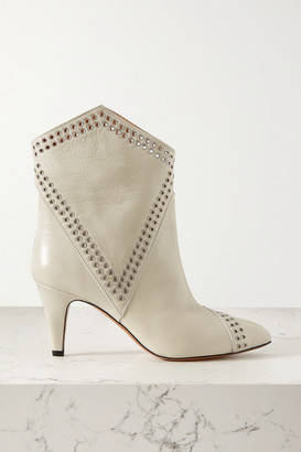 Isabel Marant Demka Eyelet-embellished Textured-leather Ankle Boots - White