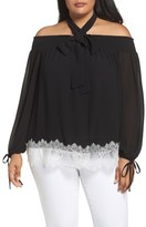 MICHAEL Michael Kors Plus Size Women's Lace Hem Off The Shoulder Top