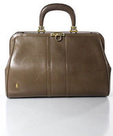 Roberta Di Camerino Brown Beige Gold Detail Leather Doctor Bag Handbag Purse