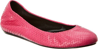Lanvin Classic Snakeskin-Embossed Leather Ballet Flat