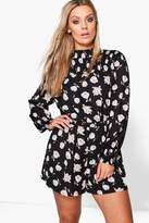 Boohoo Plus Millie Floral High Neck Playsuit black