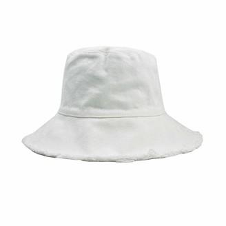 Izus Bucket-Sun-Hat Women Distressed-Washed - Summer Wide-Brim Summer Beach Cap Sun Protection - white - M
