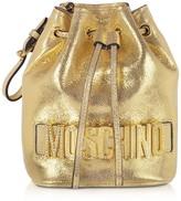 Moschino Golden Leather Signature Jewel Bucket Bag