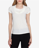 Tahari ASL Short-Sleeve Draped Ruched Top