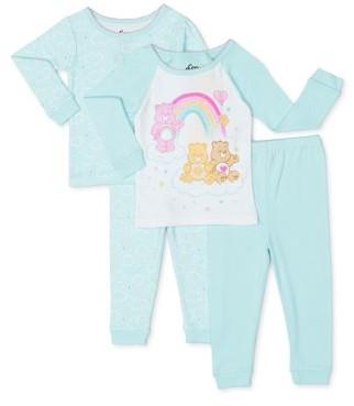 Care Bears Baby Girl Long Sleeve Snug Fit Cotton Pajamas, 4pc Set