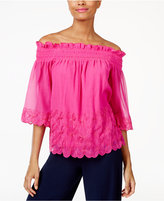 Trina Turk Embroidered Off-The-Shoulder Crinkle Top