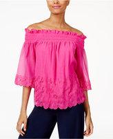 Trina Turk Embroidered Off-The-Shoulder Crinkle Top