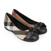 Burberry BurberryGirls Beige Check & Black Leather Bow Shoes