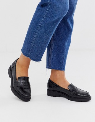 Glamorous black croc effect chunky loafers