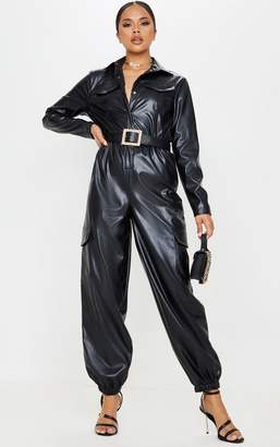 PrettyLittleThing Black Faux Leather Pocket Detail Button Jumpsuit