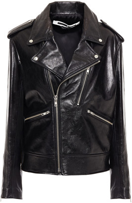 McQ Zip-detailed Glossed-leather Biker Jacket