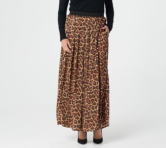 Joan Rivers Classics Collection Joan Rivers Petite Leopard Maxi Skirt