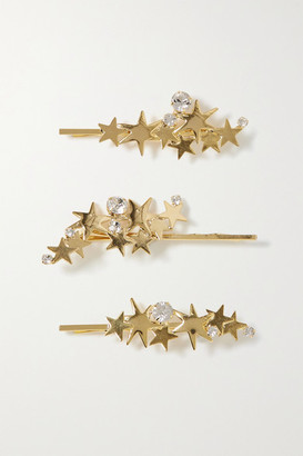 LELET NY Modern Stars Set Of Three Gold-tone Crystal Hair Slides - one size