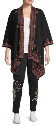 Johnny Was Plus Eyal Embroidered Cotton Cardigan