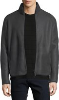Armani Collezioni Short Leather & Shearling Jacket
