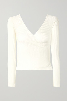 Reformation Minnie Wrap-effect Ribbed Stretch-tencel Top - Cream