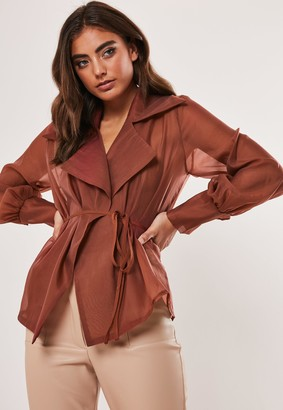Missguided Rust Organza Belted Wrap Blouse
