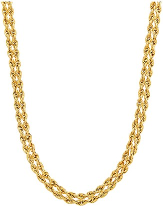 """14K Gold 17"""" Diamond Cut Double Rope Necklace, 7.3g"""