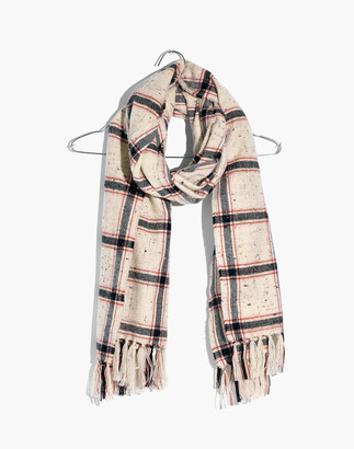 Madewell Knotted Fringe Scarf in Hanstone Plaid