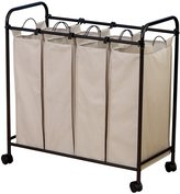 Household Essentials 7173 Rolling Quad Laundry Sorter with Removable Hamper Bags - Bronze Frame