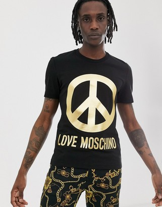 Love Moschino t-shirt with gold peace logo-Black