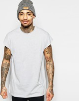 Asos Oversized Sleeveless T-shirt In Light Grey Marl