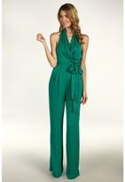 Catherine Malandrino Silk Halter Jumpsuit with Belt (Cascade) - Apparel