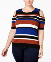 INC International Concepts Plus Size Striped Cold-Shoulder Top, Only at Macy's