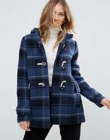 Pepe Jeans Pearl Check Wool Blend Duffle Coat