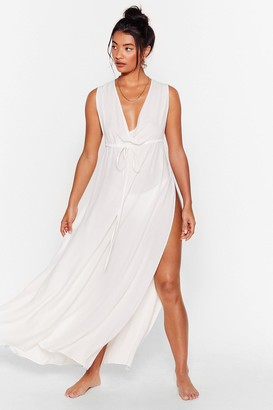 Nasty Gal Womens Water You Waitin' For Cover-Up Maxi Dress - White - 12