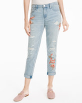 White House Black Market Floral Embroidered Girlfriend Jeans