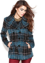 Double-Breasted Plaid Pea Coat