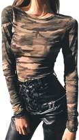 Mupoduvos Women Hot Long Sleeve Round Neck Came See Through T Shirt Sheer Top Tee M