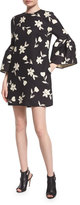 Carolina Herrera Bell-Sleeve Garden Party Dress, Black/White