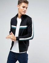 Asos Jersey Track Jacket With Contrast Stripes In Black