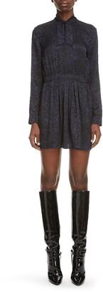 Saint Laurent Tie Neck Long Sleeve Silk Minidress