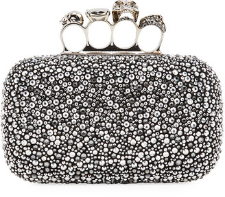 Alexander McQueen Crystal Studded Skull Four-Ring Clutch Bag