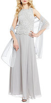 J Kara Sequin Cowl Neck A-Line Mock Flair Gown